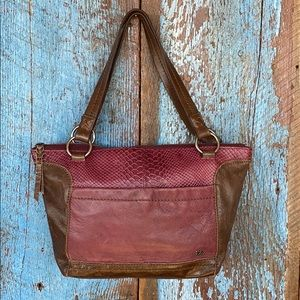 The Sak Plum & Brown Leather Shoulder Purse